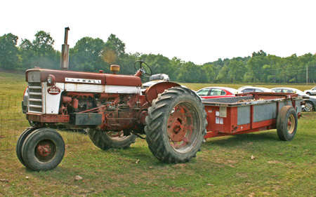 Old tractor and wagon