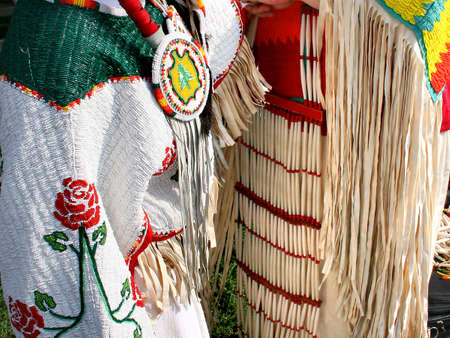 womens clothing: Beautiful Native American beaded womens clothing Stock Photo