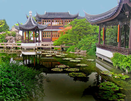 Chinese buildings and reflective pool