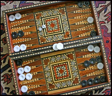 An Elaborate MidEastern Backgammon Board Stock Photo