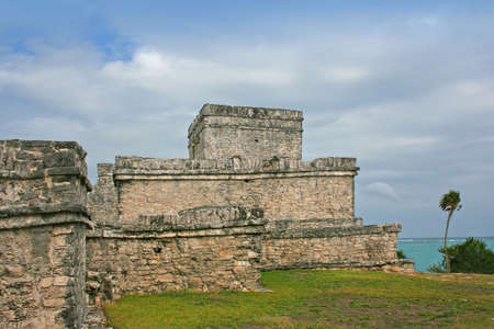 a ruin of a temple at Tulum, Mexico 写真素材