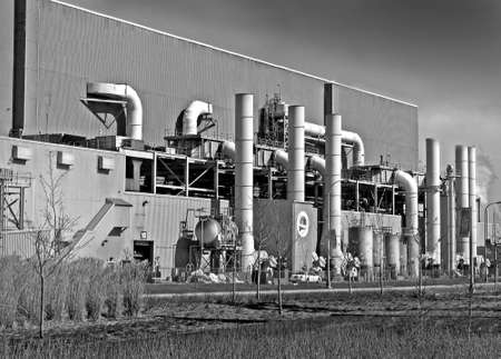black & white photo of an old factory Stock Photo