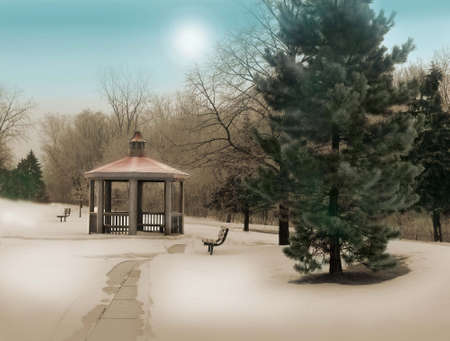scenery of a tinted and painted gazebo in winter photo