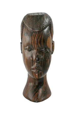 bois �b�ne: Buste africaine Handcarved en bois d'�b�ne