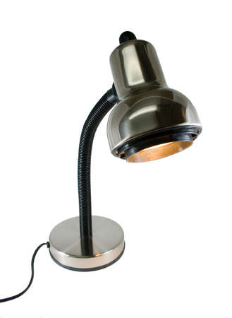 a chrome, goose-neck desk lamp on an isolated background