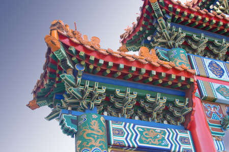 Beautiful, ornate and colorful Chinese construction and buildings photo