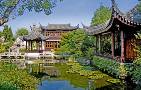 Beautiful, ornate and colorful Chinese construction and buildings