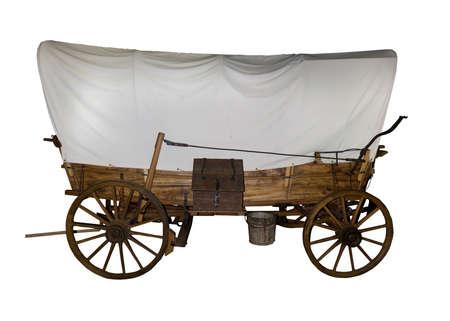 carreta madera: Oregon sendero cubierto vag�n utilizado por los pioneros