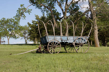 pioneer: Oregon trail covered wagon used by the pioneers