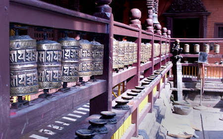 prayer wheels in Nepal photo