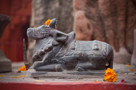 india cow: A revered cow idol in India Stock Photo