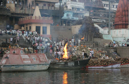 crematorium: a funeral pyre on the Ganges, India Editorial