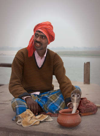 egyptian cobra: snake charmer cobra, India Editorial