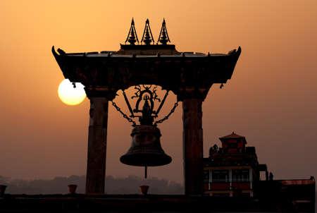 Sunrise behind a Buddhist temple, Kathmandu, Nepal Stock Photo