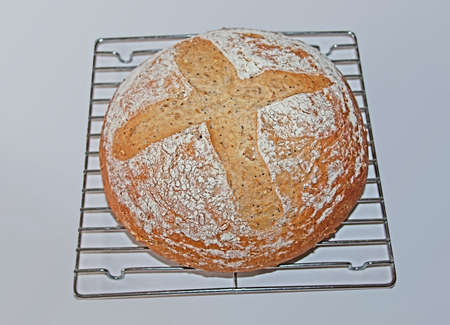 an artisan loaf of multi-seed whole wheat bread photo