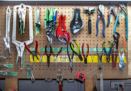 vise grip: Assorted pliers and other gripping tools Stock Photo