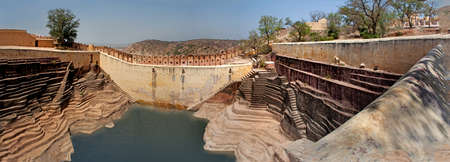 toran: panoram view of an ancient stepwell in Jaipur, India Stock Photo