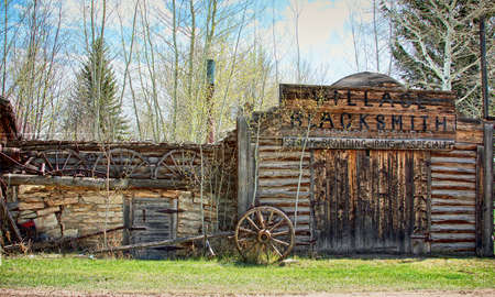 blacksmith shop: an old blacksmith shop on the Oregon Trail Stock Photo