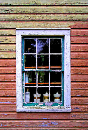 apothecary jars in a wndow photo