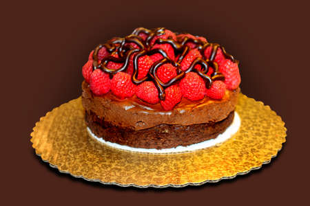 torte: torte with fresh raspberries and chocolate mousse Stock Photo