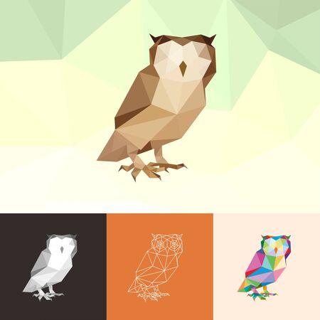 OWL ANIMAL PET POP ART LOW POLY LINE  ICON SYMBOL. TRIANGLE GEOMETRIC POLYGON
