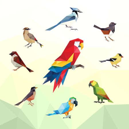 PARROT BIRD ANIMAL PET LOW POLY LOGO ICON SYMBOL. TRIANGLE GEOMETRIC POLYGON Logos