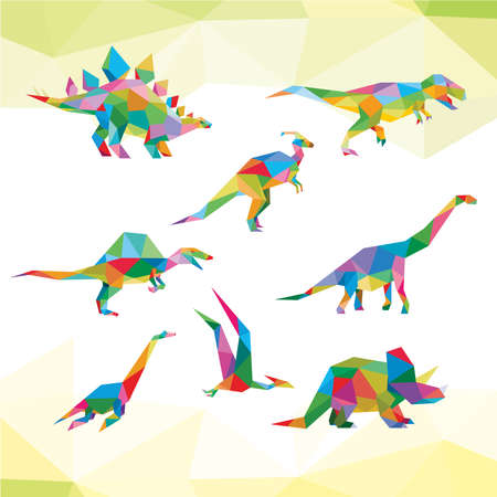 DINOSAUR LOW POLY LOGO ICON SYMBOL SET. TRIANGLE GEOMETRIC POLYGON