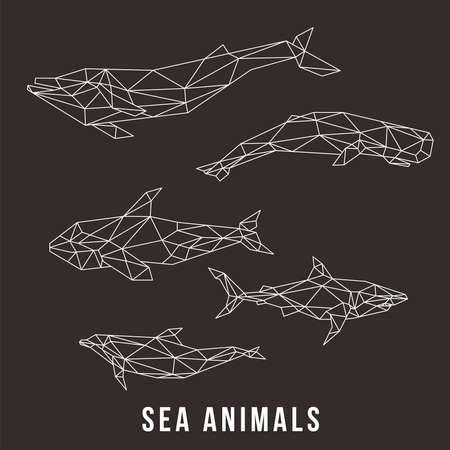 SEA ANIMALS LOW POLY LINE LOGO ICON SYMBOL SET. TRIANGLE GEOMETRIC POLYGON