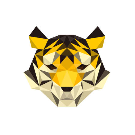 TIGER FACE LOW POLY LOGO ICON SYMBOL. TRIANGLE GEOMETRIC POLYGON