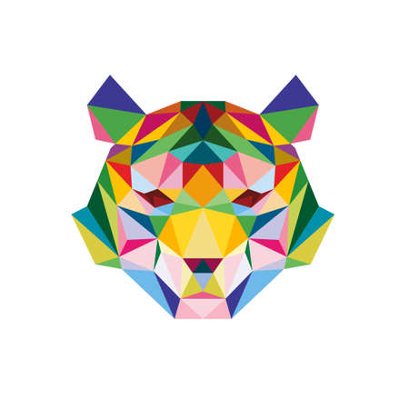 TIGER FACE LOW POP ART POLY LOGO ICON SYMBOL. TRIANGLE GEOMETRIC POLYGON