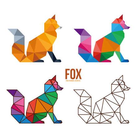 Fox animal low poly geometric polygonal design Vector Illustration