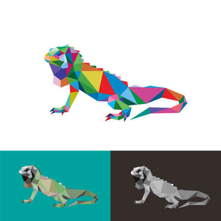 Iguana reptile low poly geometric polygonal pop art design