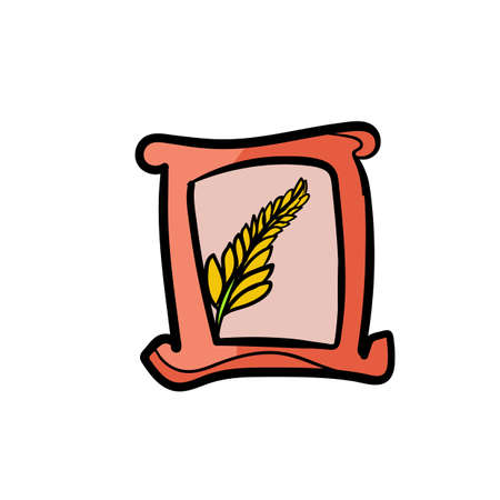 chinese food container: Bag rice icon Illustration