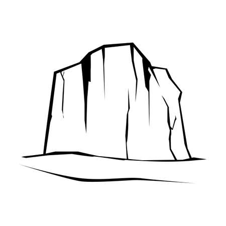 Hill rock icon in outline illustration.