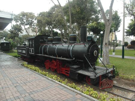 An Old train in a visit at Reserva Park in Lima