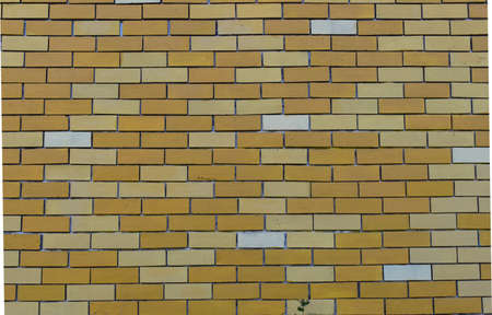 Empty Background wall with yellow bricks, exterior view