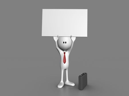 void: Character holding up a blank sign Stock Photo