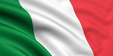 flaga włoch: 3D wytopionych i wskaźnik pod banderą Włoch Zdjęcie Seryjne