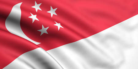 singaporean flag: 3d rendered and waving flag of singapore