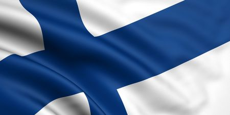 finland flag: 3d rendered and waving flag of finland Stock Photo