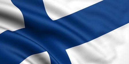 bandera de finlandia: Renderizado en 3D y agitando bandera de Finlandia Foto de archivo