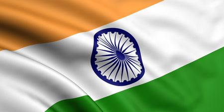 india flag: 3d rendered and waving flag of india