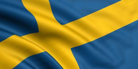 sweden flag: 3d rendered and waving flag of sweden