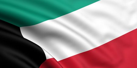 kuwait: 3d rendered and waving flag of kuwait