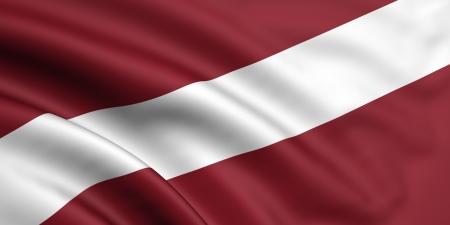 latvia: 3d rendered and waving flag of latvia