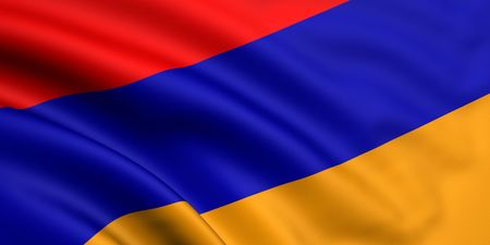 3d rendered and waving flag of armenia photo