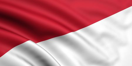 monaco: 3d rendered and waving flag of indonesia  monaco