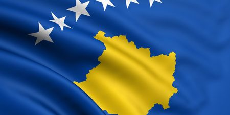 3d rendered and waving flag of kosovo photo