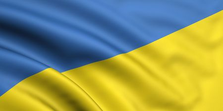 3d rendered and waving flag of ukraine
