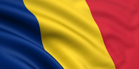 romania: 3d rendered and waving flag of romania  chad